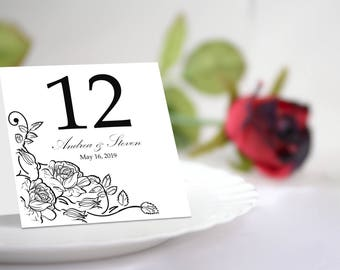 DIY Black and White Roses Table Number Tent Template. Printable Blushes Design.