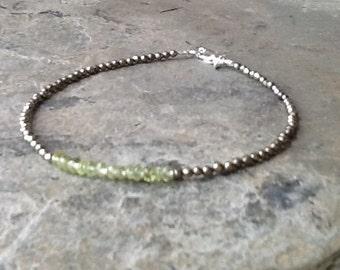 Green Tourmaline with Tiny Pyrite Bracelet