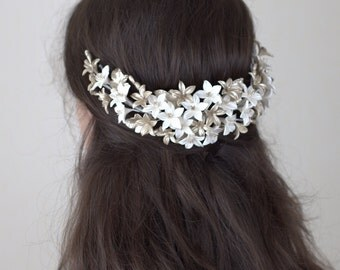 Bridal headpiece. Bridal back headpiece. Floral crown. Wedding headpiece. Boho headpiece. Style 711