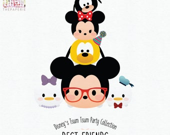 Disney's Tsum Tsum Mickey & Friends Characters; 300 PPI Transparent PNG Clipart