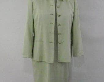 Vintage 90s dress suit by Viyella - Petite cut - pale green dress with matching jacket size  medium large