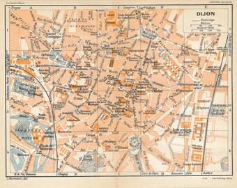 1930 Dijon France Antique Map