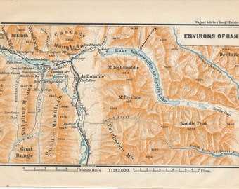 1907 Banff Canada and Environs Antique Map