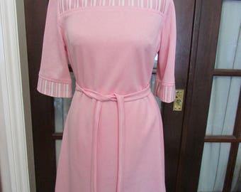 Vintage Debenhams pink tie belt dress with contrast stripe neckline & cuff detail