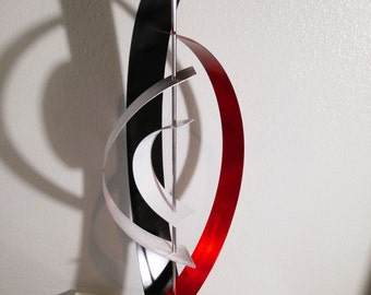 "Red Abstract Metal Art Decor Sculpture - Red, Black, White and Silver ""Orbit"" by Dustin Miller"