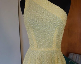 1950's Handmade Yellow Eyelet Fit and Flare One Shoulder Dress Size Small