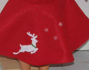 "Christmas Holiday Reindeer Skirt,  18"" Doll Clothes, Made in USA fits American Girl, Our Generation Dolls"