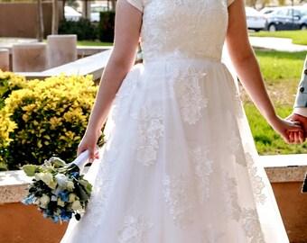 Bridget Modest Wedding Dress - Custom Made Wedding Dress - Wedding Dress with Sleeves - Lace Wedding Dress - Modest Gown - LDS Wedding Dress