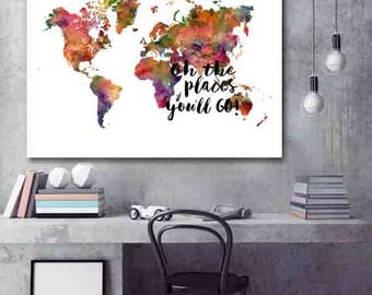 World Map Poster World Map Decor Watercolor Map Print Large World Map Print Christmas Gift - SKU :MAP-42