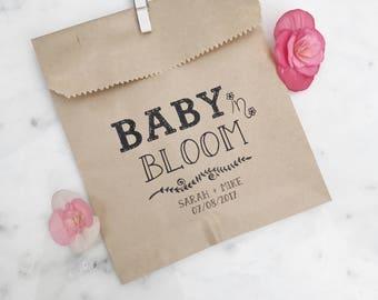 Baby Shower Favor Bags! - Baby in Bloom! - Favor Bags - Custom Printed on Kraft Brown Paper