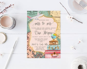 Traveling from Miss to Mrs Bridal Shower Invitation Travel Invitation Bachelorette Party Invitation Luggage Travel Map Invitation