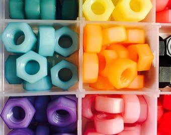 Sampler Kit-Colored Nylon Hex Nuts 5/16-18 Solid & Pastel