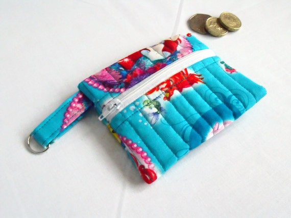 key ring purse, cotton purse, coin holder, key chain wallet, small coin holder, credit card pouch, turquoise little mermaids fabric