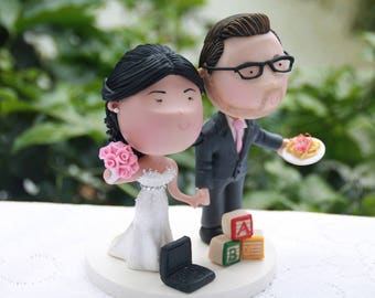 Career couple - Chef groom and teacher bride. Wedding cake topper. Wedding figurine.  Handmade. Fully customizable. Unique keepsake