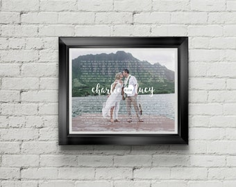 Custom PRINTABLE Wedding Vows/Song Lyrics and Wedding Picture Art Print with Heart & Wedding Date in Calligraphy
