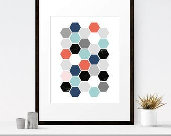 Download art, Honeycomb art, Scandinavian print, Geometric print, Honeycomb decor, Colorful prints, Hexagon print, Digital print, Honeycomb