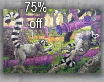 """Original Painting """"Lemur Pipes"""" Surreal Large Wall Art Acrylic on Canvas 54"""""""