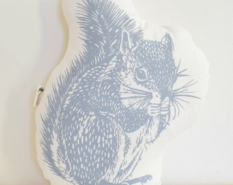 Squirrel Plush - Squirrel Pillow - Organic Cotton - Animal Accent Pillow - Woodland Throw Pillow - Animal Pillows - Plushie - USA Made
