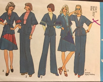 Simplicity 7271 - 1970s Wrap Jacket, Skirt and Pats with Contrast Fabric Cut Outs - Size 8 Bust 31.5