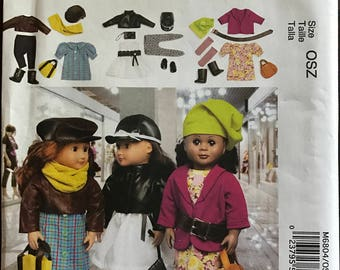 "McCalls M6804 - Doll's Downtown Chic Wardrobe Collection with Jacket, Dress, Leggings, Boots and Accessories - 18"" Doll"