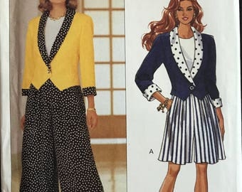 Butterick 6590 - Fast and Easy Shawl Collar Jacket with Weskit Hem, Split Skirt and Top - Size 6 8 10
