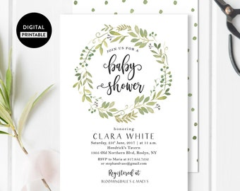 Calligraphy Baby shower invitation - Baby Shower invite - Brunch - Rustic - Watercolor Wreath Foliage - printable DIY customizable Card