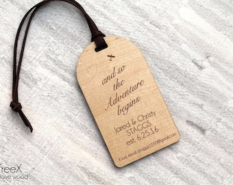 Personalized wood luggage tag by TreeX, solid wood bag tag, custom luggage tags, and so the adventure begins