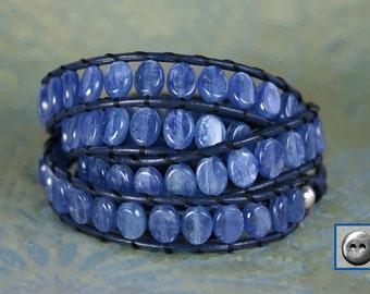 Leather Wrap Bracelet, Kyanite 7x6mm Oval Gemstone, 4x Wrap, Semiprecious stone, Navy Leather, Handmade Pewter Button, Blue w/ Silver flash