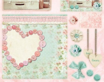 Studio Light Romantic Vintage 3D die cut block, Pretty in Pink  Card making paper craft kit to make 12 complete cards