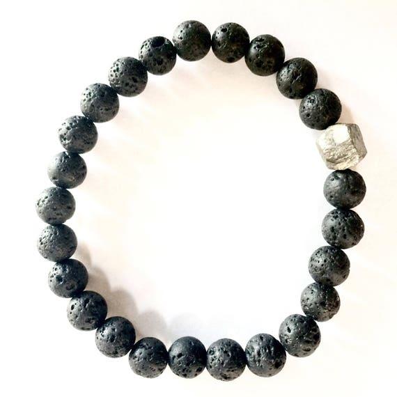 Mens Lava stone bracelet, quartz stone, 8mm beads,for him, for men, stretch bracelet, men bracelet, black Stone bracelet,