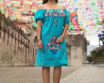 Mexican off the shoulder mini dress hand embroidered - Aqua jade 100% cotton (manta)