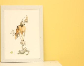 The secret strength of the sloth. A3 Fine Art Print