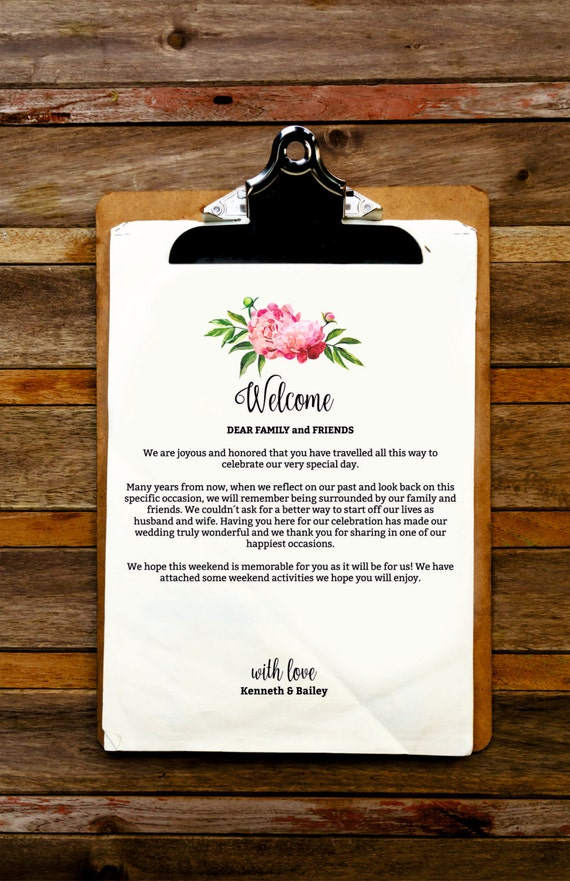Floral wedding welcome letter and itinerary template welcome floral wedding welcome letter and itinerary template welcome bag pink peonies itinerary welcome letter wedding favor wedding printables spiritdancerdesigns Image collections