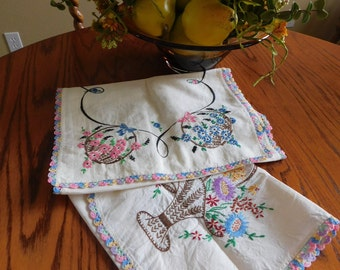 Victorian Flowers Dresser Scarf Set Of Two*