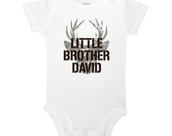 Personalize The Name - Little Brother - Deer, Buck, Hunting, Camo, Country Baby One Piece Bodysuit or Toddler / Children's T-shirt