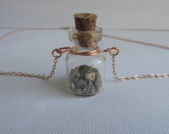michigan stones glass bottle necklace