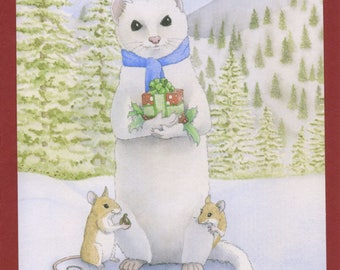 Mouse and Ermine (Sweet Gifts) Christmas Card Card