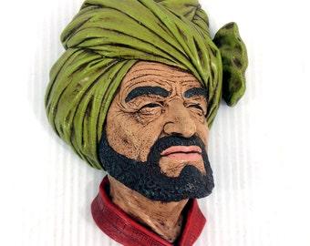Vintage Unmarked Bossons Style Abdhul Head Bust Chalkware Green Turbun 60s
