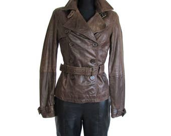 Vintage 90's Leather  Brown Belted Jacket Coat Double Breasted Jacket- size XS S