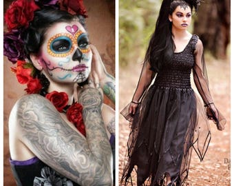 Day of the Dead~ Day of the Dead Senorita Womens Costume ~ BoHo~ Steampunk ~ Medievial ~ Grunge ~