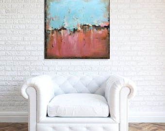 Large Blue Pink Wall Art Abstract Art Original Abstract Painting, Blue Canvas Art Bedroom Living Room Art, Large Modern Artwork Christovart