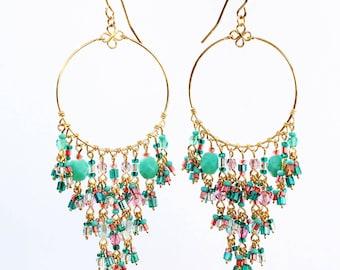 Chandelier Hoop Earrings, Multi Color Chandelier Earrings, Long Chandelier Earrings, Prom Earrings, Turquoise Chandelier Earrings, Boho hoop
