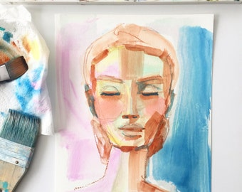 Original watercolor face, portrait of a woman, abstract art, colorful art, gifts for her, original art, neon, blue, feminine,