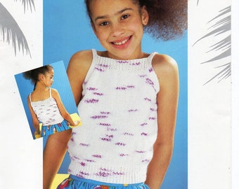 "girls summer top knitting pattern PDF strappy top camisole childrens top sleeveless 24-34"" DK light worsted 8ply pdf instant download"