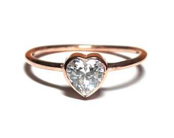 Heart Ring-14K Gold Heart Ring-Solitaire Ring-Gold Ring-Diamond Ring-14K Gold Zirconia Handmade Heart Ring