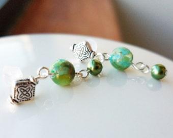 Beautifully feminine teal green drop dangle earrings on plastic posts for metal sensitive ears