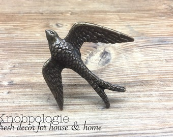 Swallow Knob - Antique Bronze Metal Flying Swallow Bird Knob - Knob - Furniture Hardware - Dresser Drawer Pull - Decorative Knob