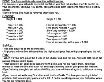graphic relating to Yardzee Rules Printable titled Farkle Guidelines Visuals - Opposite Look