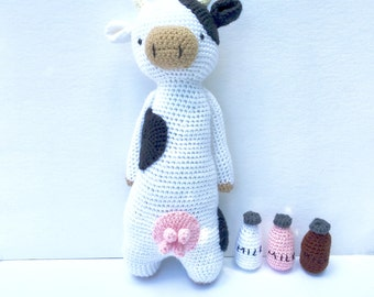 Crochet Cow Doll | Stuffed Crochet Cow Toy | Cow Stuffed Animal With Utters | Cow Plush with Milk