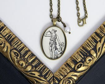 Diana Necklace, Artemis Necklace, The Huntress, Goddess Diana, Artemis, Mythology Necklace, Greek Mythology, Dictionary Necklace
